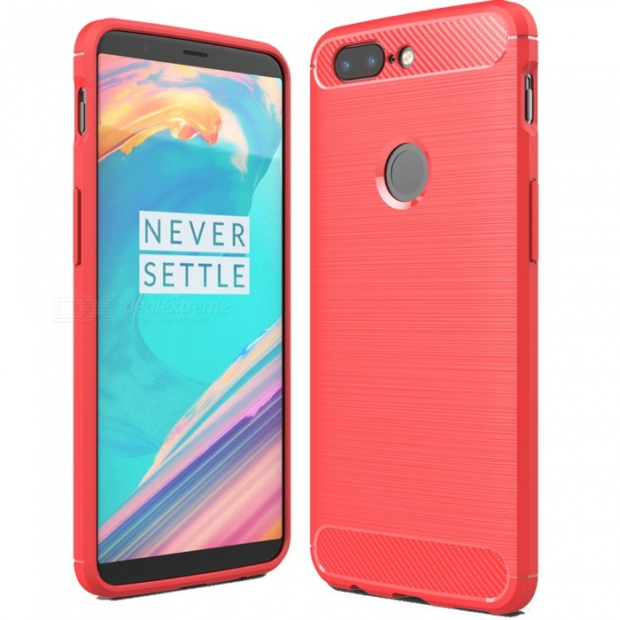 promo code fc735 15b5c ASLING Protective Carbon Fiber TPU Soft Cover Case for OnePlus 5T - Red