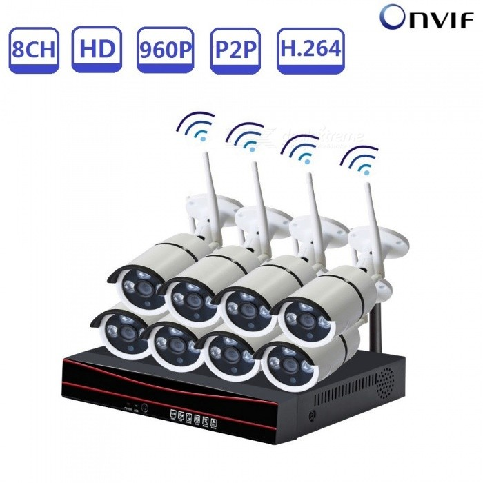 Strongshine 960P Wireless CCTV 8CH H.264 WIFI NVR KIT Security Surveillance NVR Recorder IP Camera with Night Vision