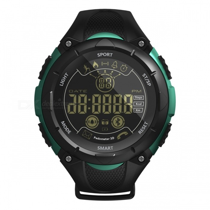 X7 Sports Bluetooth Intelligent Watch Camera Remote Control Calls Message Reminder for Men and Women - GreenSmart Bracelets<br>ColorGreenModelX7Quantity1 DX.PCM.Model.AttributeModel.UnitMaterialPlastic cementWater-proofIP68Bluetooth VersionBluetooth V4.0Touch Screen TypeOthers,FSTNOperating SystemAndroid 4.4,iOSCompatible OSAndroid IOSBattery Capacity600 DX.PCM.Model.AttributeModel.UnitBattery TypeOthers,CR2450 button batteryStandby Time20 DX.PCM.Model.AttributeModel.UnitPacking List1 x Smart Watch1 x User Manual<br>