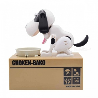 Creative Greedy Dog Style Saving Box Money Box Piggy Bank - Black + White
