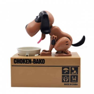 Creative Greedy Dog Style Saving Box Money Box Piggy Bank - Black + Coffee