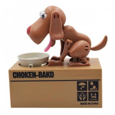 Creative Greedy Dog Style Saving Box Money Box Piggy Bank - Light Brown