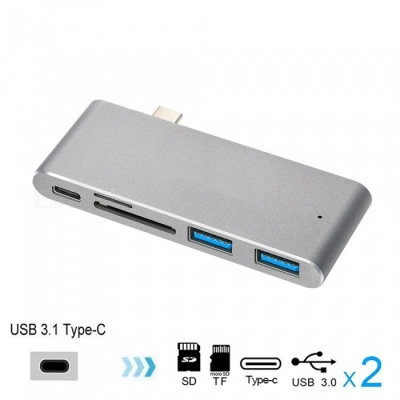 Cwxuan USB 3.1 Type-C to Type-C, USB 3.0 HUB, TF SD Card Reader with Charging Port Adapter - Gray