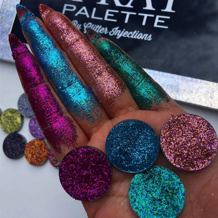 Beauty Glazed 4 Colors Makeup Eye Shadow, Glitterinjections Pressed Glitter Shimmer Diamond Eyeshadow Palette 15color