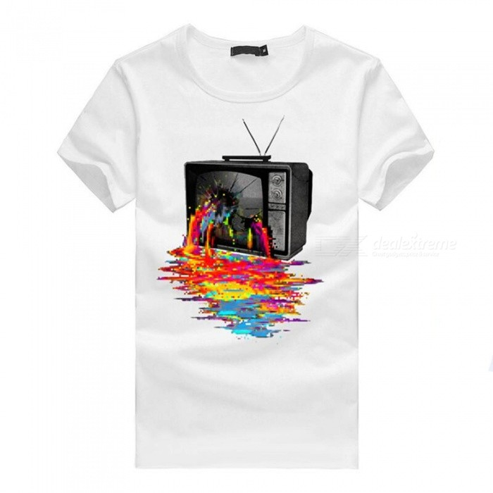 3D Color TV Print Personality Fashion Casual Cotton Short-Sleeved T-shirt for Men - White (M)Tees<br>ColorWhiteSizeMQuantity1 DX.PCM.Model.AttributeModel.UnitShade Of ColorWhiteMaterialCottonShoulder Width46 DX.PCM.Model.AttributeModel.UnitChest Girth92 DX.PCM.Model.AttributeModel.UnitSleeve Length19 DX.PCM.Model.AttributeModel.UnitTotal Length65 DX.PCM.Model.AttributeModel.UnitSuitable for Height165 DX.PCM.Model.AttributeModel.UnitPacking List1 x T-shirt<br>