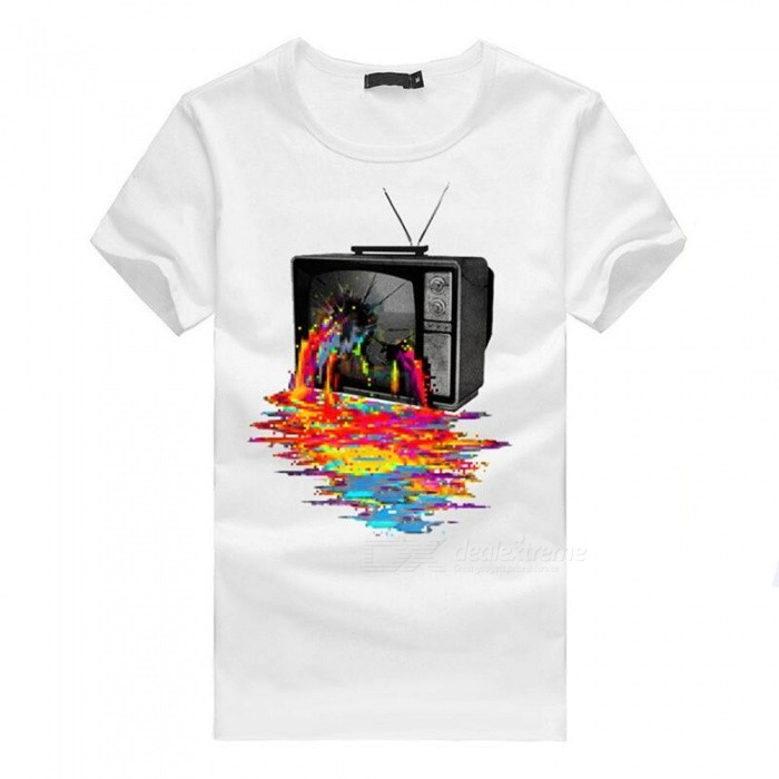 3D Color TV Print Personality Fashion Casual Cotton Short-Sleeved T-shirt for Men - White (L)