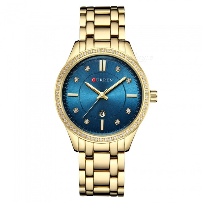 CURREN 9010 Womens Stylish Quartz Watch with Calendar - Blue + GoldenQuartz Watches<br>ColorBlue + GoldenModel9010Quantity1 DX.PCM.Model.AttributeModel.UnitShade Of ColorGreenCasing MaterialAlloyWristband Material-Suitable forAdultsGenderWomenStyleWrist WatchTypeFashion watchesDisplayDigitalBacklightnoMovementQuartzDisplay Format12 hour formatWater ResistantFor daily wear. Suitable for everyday use. Wearable while water is being splashed but not under any pressure.Dial Diameter4 DX.PCM.Model.AttributeModel.UnitDial Thickness1 DX.PCM.Model.AttributeModel.UnitWristband Length22 DX.PCM.Model.AttributeModel.UnitBand Width1.5 DX.PCM.Model.AttributeModel.UnitBattery626Packing List1 x Watch<br>