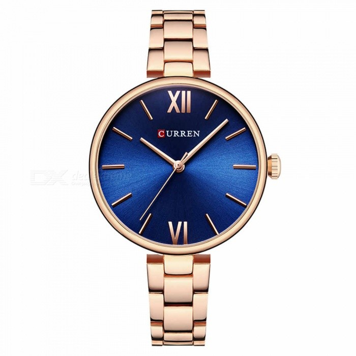 CURREN 9017 Stylish Quartz Watch for Women - Rose Gold + BlueQuartz Watches<br>ColorRose Gold + BlueModel9017Quantity1 DX.PCM.Model.AttributeModel.UnitShade Of ColorBlueCasing MaterialAlloyWristband Material-Suitable forAdultsGenderWomenStyleWrist WatchTypeFashion watchesDisplayAnalogBacklightnoMovementQuartzDisplay Format12 hour formatWater ResistantFor daily wear. Suitable for everyday use. Wearable while water is being splashed but not under any pressure.Dial Diameter3.5 DX.PCM.Model.AttributeModel.UnitDial Thickness1 DX.PCM.Model.AttributeModel.UnitWristband Length22 DX.PCM.Model.AttributeModel.UnitBand Width1.2 DX.PCM.Model.AttributeModel.UnitBattery626Packing List1 x Watch<br>