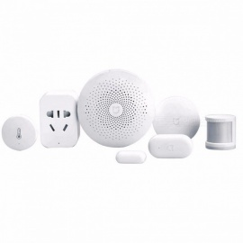 Xiaomi Smart Home Automation Mijia 5-in-1 Portable Kit, LED Gateway 2 Wi-Fi Switch Zigbee Sensor Socket White