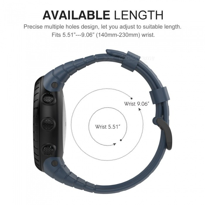Miimall Adjustable Replacement Soft Strap Wristband with Metal Clasp and Black Buckle for Suunto Core