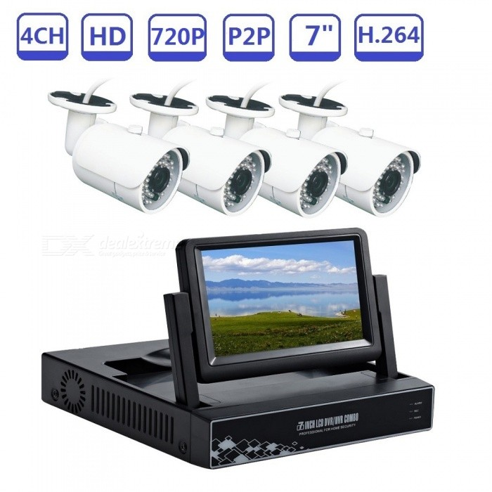 4CH 720P Plug and Play AHD DVR Video Surveillance Kit Build-in 7inch LCD Screen with 1MP IR Night Vision HD Camera - US PlugDVR Cards &amp; Systems<br>Form  ColorWhite + BlackPower AdapterUS PlugModelST-AHD6400NMKITSMaterialMetal + plasticQuantity1 DX.PCM.Model.AttributeModel.UnitVideo Compressed FormatH.264Video Input4 channelsVideo Output4CHVideo SystemPAL,NTSCVideo StandardsH.264Audio Compression FormatAACAudio Input4 channelsAudio Output1CHMax Capacity4TBInterface TypeSATAOperating SystemWindows 7,Android 3.0,Android 3.1,Android 3.2,Android 4.0,Linux,Windows 8,iOSSupported LanguagesEnglish,Brazilian,Russian,Spanish,Italian,Korean,French,German,Bulgarian,Swedish,Others,Support 28 Multi-LanguagesPicture Resolution1280*720Working Temperature-20~50 DX.PCM.Model.AttributeModel.UnitWorking Humidity10%-90%Network Interface1USB Port Qty2 DX.PCM.Model.AttributeModel.UnitPower AdaptorYesPower SupplyOthers,DC12V3AColorUS PlugPacking List1*  AHD DVR built-in 7inch LCD screen1* Power supply for AHD DVR1* Mouse for AHD DVR 4* cameras4* Power supply for camera1 *User manual of AHD DVR1 * Screw and other parts<br>