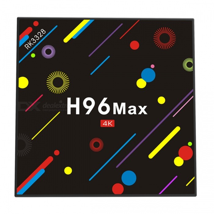 H96 MAX Rockchip RK3328 Quad-core Android 7.1 Smart TV Box w/ 4GB RAM, 32GB ROM (EU Plug)Smart TV Players<br>ColorColorfulBuilt-in Memory / RAM4GBStorage32GBPower AdapterEU PlugModelH96 MAX/H96 MAX H2Quantity1 DX.PCM.Model.AttributeModel.UnitMaterialABSShade Of ColorMulti-colorOperating SystemOthers,Android 7.1ChipsetRK3328CPUOthers,Cortex-A53Processor Frequency2.0GHZGPUMali-450 Up to 750Mhz+Menu LanguageEnglish,French,German,Italian,Spanish,Portuguese,Russian,Vietnamese,Polish,Greek,Norwegian,Dutch,Arabic,Japanese,Bahasa Indonesia,Korean,Thai,Maltese,Malay,Slovak,Czech,Greek,Romanian,Swedish,Chinese Simplified,Chinese TraditionalMax Extended Capacity64GBSupports Card TypeMicroSD (TF)Wi-Fi2.4G/5G 802.11 b/g/nBluetooth VersionBluetooth V4.03G FunctionNoWireless Keyboard/Mouse2.4gAudio FormatsWMA,APE,FLAC,OGG,AC3,DTS,AACVideo FormatsAVI,MKV,MOV,M4V,PMP,AVC,FLV,VOB,MPG,DAT,MPEG,WMVAudio CodecsDTS,AC3,FLACVideo CodecsMPEG-1,MPEG-2,MPEG-4,VC-1Picture FormatsJPEG,BMP,PNG,GIF,TIFFSubtitle FormatsMicroDVD [.sub],SubRip [.srt],Sub Station Alpha [.ssa],Sami [.smi]idx+subPGSOutput Resolution1080PHDMI2.0USBUSB 2.0,USB 3.0Power Supply5V 2APacking List1 x H96 max h2 tv box1 x Power charger1 x Remote control1 x User manual1 x HDMI cable<br>