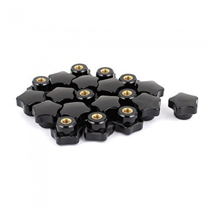 32-x-21mm-M8-Female-Plastic-Five-Star-Shaped-Head-Clamping-Nut-Knob-(20-PCS)