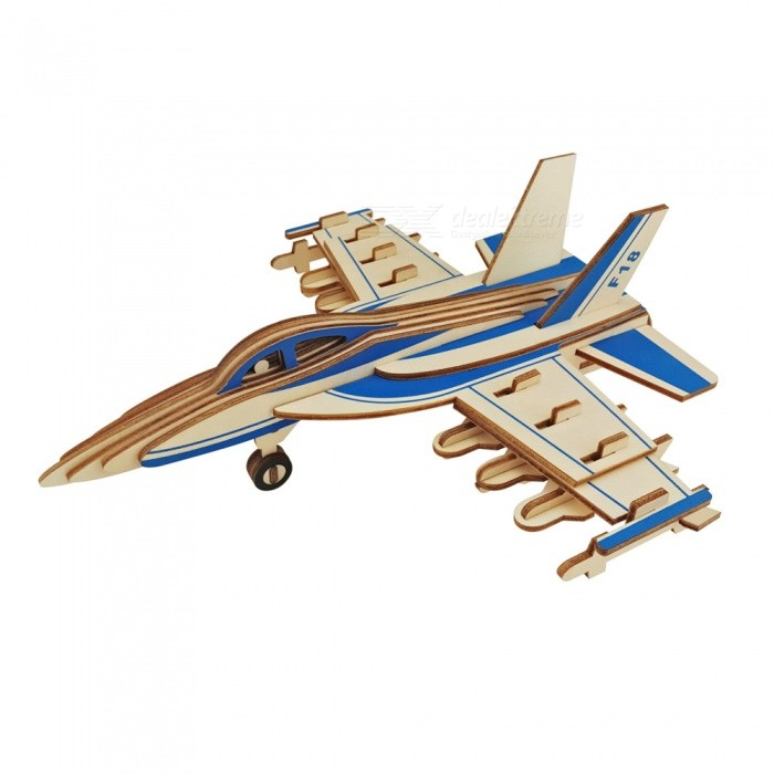 DIY F-18 3D Wooden Fighter Aircraft Style Puzzle Educational ToyBlocks &amp; Jigsaw Toys<br>ColorBlueMaterialWoodQuantity1 DX.PCM.Model.AttributeModel.UnitNumber47Size25.5x22.6x9cmSuitable Age 5-7 years,8-11 years,12-15 yearsPacking List1 x DIY Toy<br>