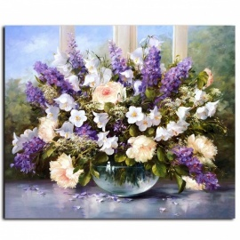 DRAWJOY G053 Modern Flower Framed Picture Oil Painting By Numbers for Living Room Home Decor, Hand Unique Gift Wall Art framed  40x50cm