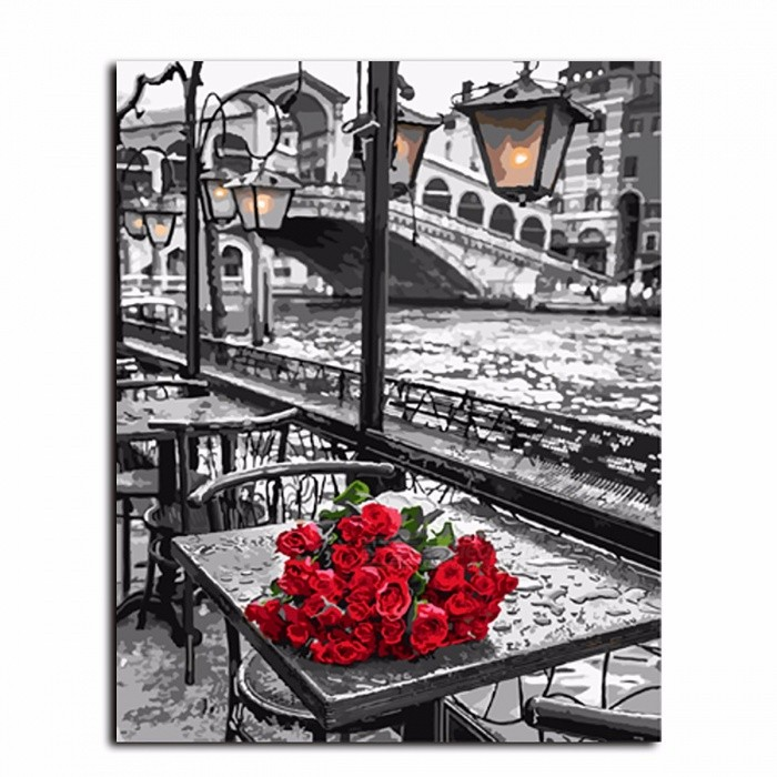 DRAWJOY GX9754 Rose Frameless Painting By Numbers, DIY Digital Canvas Oil Painting for Living Room Wall Art Home Decoration 40*50 cm