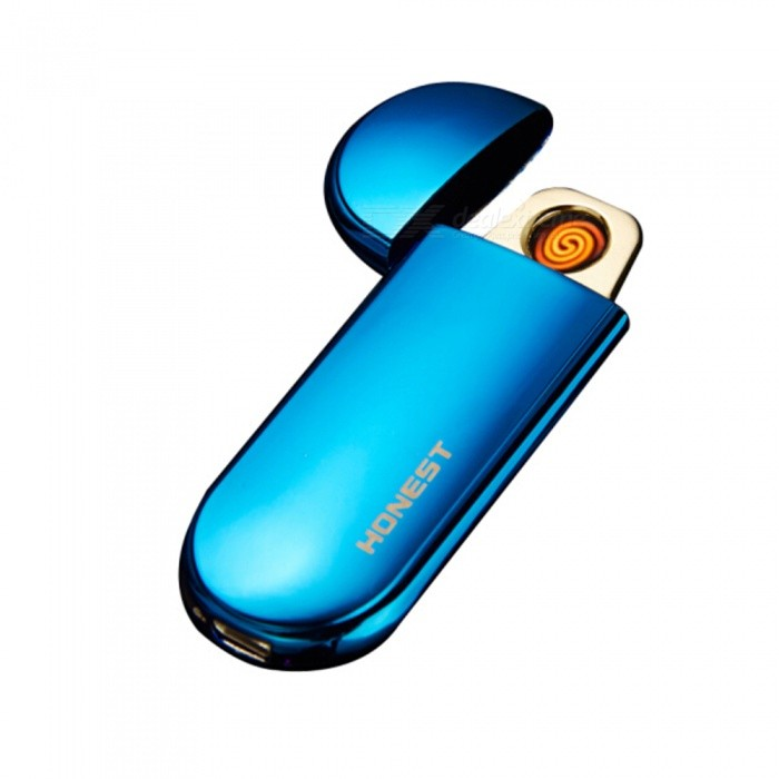 HONEST USB Rechargeable Windproof Coil Slim Lighter with USB Charging Cable and Gift Box - BlueOther Lighters<br>ColorBlueModelN/AMaterialAlloyQuantity1 DX.PCM.Model.AttributeModel.UnitShade Of ColorBlueTypeUSBWindproofYesPower SupplyNOCharging Time1.5 DX.PCM.Model.AttributeModel.UnitPacking List1 x USB Lighter1 x USB Charging Cable1 x Gift Box<br>