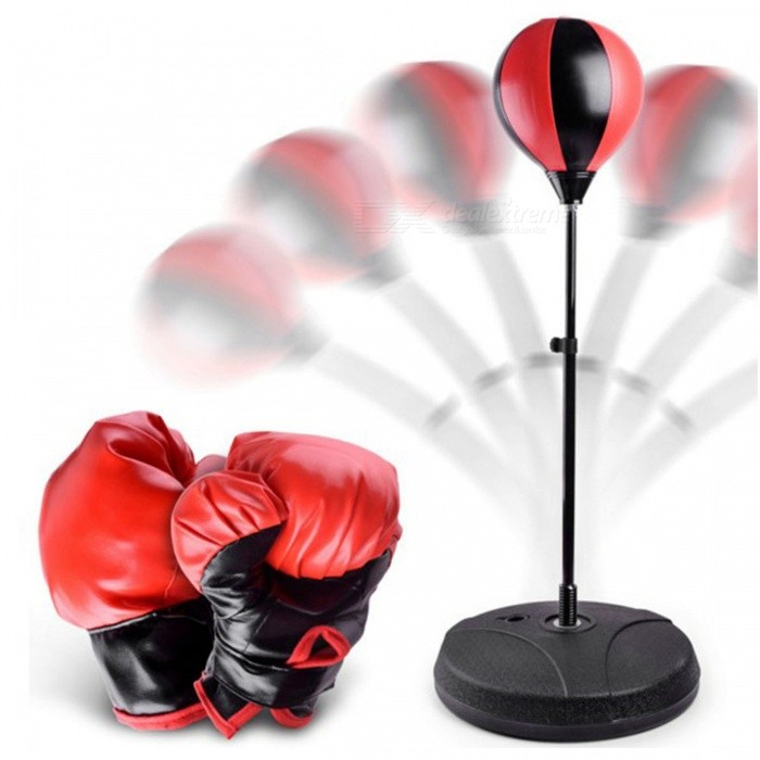 Vertical Adjustable Inflatable Boxing Ball Set, Children Indoor Sports Boxing Gloves ToyStress Relievers<br>ColorRed + BlackMaterialPU / polyurethaneQuantity1 DX.PCM.Model.AttributeModel.UnitSuitable Age 5-7 years,8-11 years,12-15 yearsPacking List1 x Base1 x Bracket2 x Boxing gloves1 x Balloon<br>