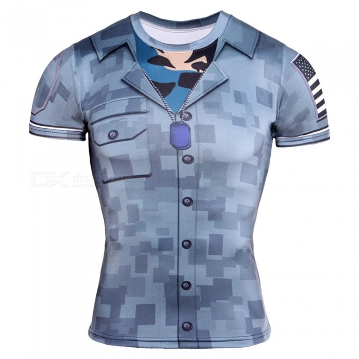 Buy CTSmart TD67 Breathable 3D Printing Tight-Fitting Short-Sleeved Men's Quick-Drying T-shirt - Blue (M) with Litecoins with Free Shipping on Gipsybee.com