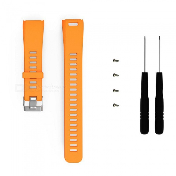 Replacement SmartWatch Watchband for Garmin Vivosmart HR - OrangeWearable Device Accessories<br>ColorOrangeModelN/AQuantity1 DX.PCM.Model.AttributeModel.UnitMaterialSilica gelPacking List1 x Watchband (9.5cm)1 x Watchband(12.5cm)2 x Bolt driver4 x Screw<br>