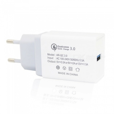 Mini Smile 18W Universal Travel QC3.0 Quick Charge USB Power Adapter Wall Charger - Grey + White (EU Plug)