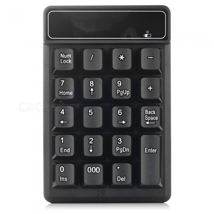 2.4G Wireless Numeric Keypad Keyboard with 19 Key for Finance / Accounting - BlackWireless Keyboards<br>Form  ColorBlackMaterialABSQuantity1 DX.PCM.Model.AttributeModel.UnitInterfaceUSB 2.0Wireless or Wired2.4G WirelessBluetooth VersionNoCompatible BrandOthers,General TypeTracking MethodOthers,NOBack-litNoOperation Distance8 DX.PCM.Model.AttributeModel.UnitAnti-ghosting Key19Powered ByAAA BatteryBattery included or notYesCharging Time0 DX.PCM.Model.AttributeModel.UnitWaterproofNoSupports SystemWin xp,Win 2000,Win 2008,Win vista,Win7 32,Win7 64,Win8 32,Win8 64,MAC OS X,LinuxPacking List1 x Keyboard1 x AAA Battery 1 x USB Receiver1 x English Manual<br>