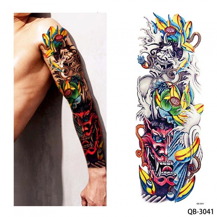 bf06d3795 New Unique Nun Girl Pray Design Full Flower Arm Body Art Beckham Big Large Fake  Temporary Tattoo Sti