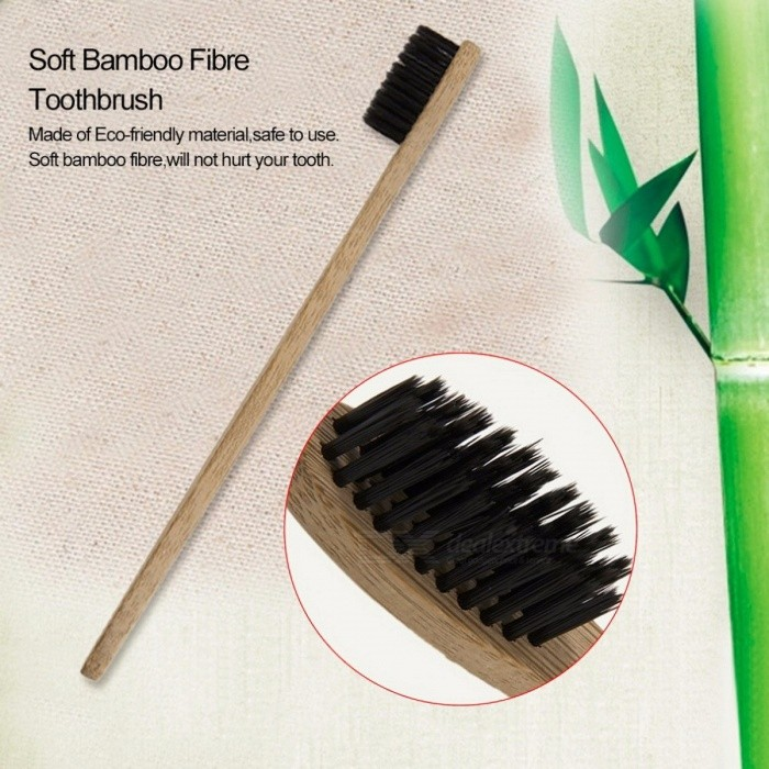 Environment-friendly Wood Bamboo Toothbrush Soft Bamboo Fibre Wooden Handle Low-carbon Eco-friendly for Adults yellow