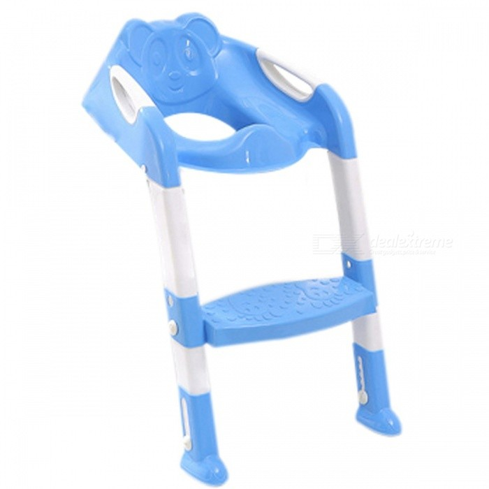 Baby Potty Training Seat Children's Potty Baby Toilet Seat with Adjustable Ladder Infant Toilet Training Folding Seat 2 Colors blue