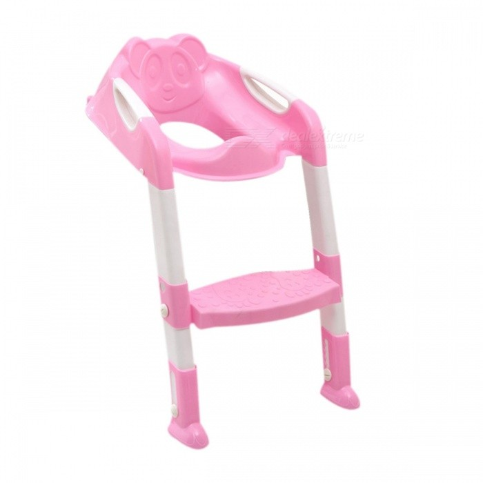 Baby Potty Training Seat Children's Potty Baby Toilet Seat with Adjustable Ladder Infant Toilet Training Folding Seat - pink