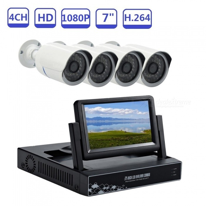 4CH-Weatherproof-IP66-IP-Camera-for-Home-Surveillance-Built-in-7-LCD-Screen-NVR-Video-Recorder-Kit-US-Plug
