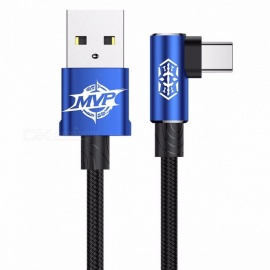 Baseus MVP Elbow USB3.1 Type-C Cable, 2A USB-C Charger Fast Data Sync Charging Type-C Cable for Samsung Note 8 S8 Oneplus 2m/Blue