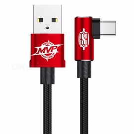 Baseus MVP Elbow USB3.1 Type-C Cable, 2A USB-C Charger Fast Data Sync Charging Type-C Cable for Samsung Note 8 S8 Oneplus 1m/Red