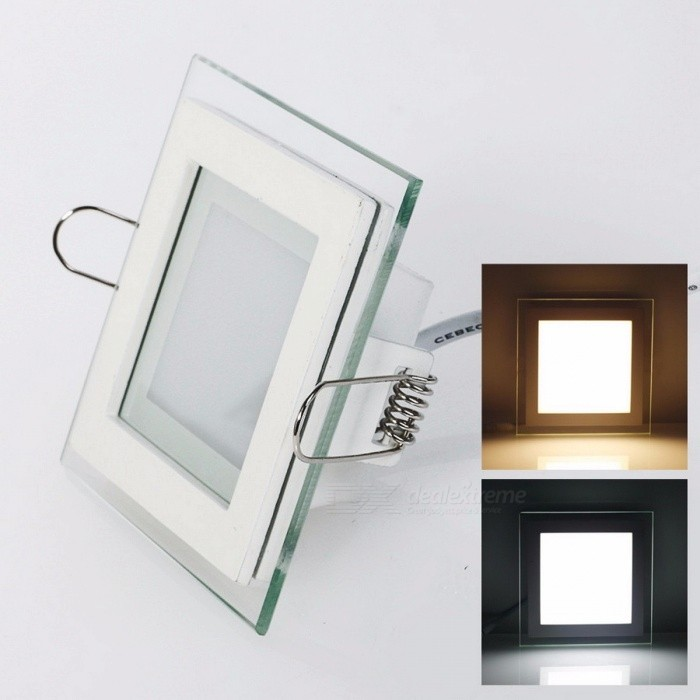 LED Panel Downlight Square Glass Cover Lights High Bright Ceiling Recessed Lamp with Driver 12W  AC100~240V square/Natural White