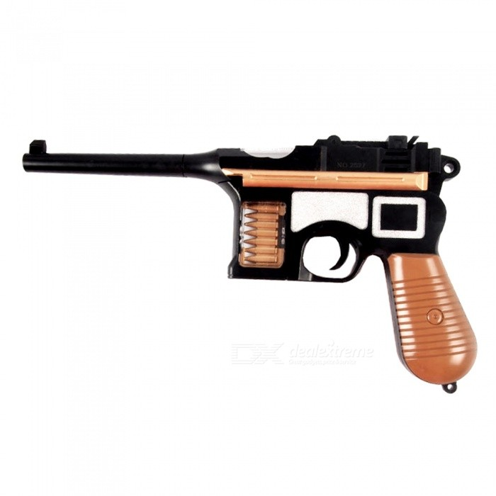 Classical Detachable Gun Pistol Toy with Sound, Flashing Light, Vibration and Retractable Function for Children - Black + Brown