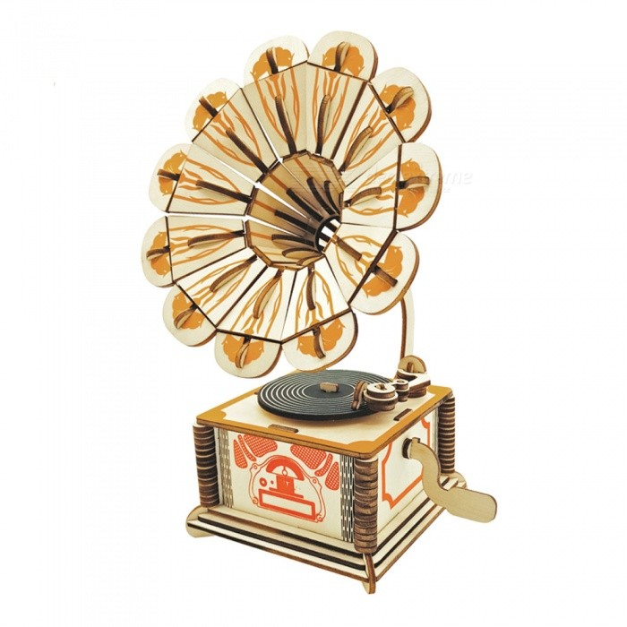 DIY Gramophone Style 3D Three-Dimensional Wooden Puzzle Toy Gift for Adults / Children