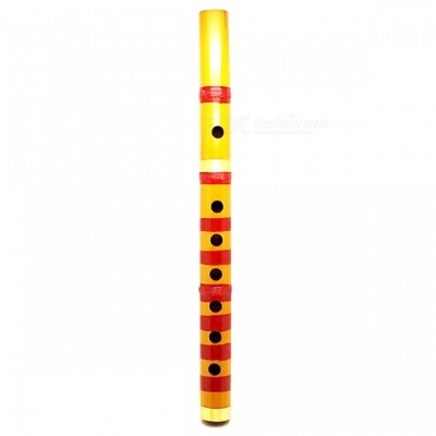 Traditional 6 Hole 24cm Long Bamboo Flute Clarinet Student Musical Instrument - Yellow + Red