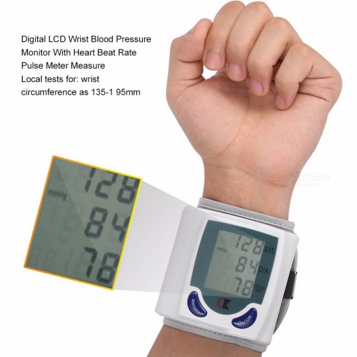 Mini-Home-Automatic-Wrist-Digital-LCD-Blood-Pressure-Monitor-Portable-Tonometer-Blood-Pressure-Meter-Oximeter-White