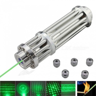 AIBBER TONE High Power Green 532nm Laser Pointer Pen, Military Zoomable Beam Focus Burning Matches with 5Pcs Caps