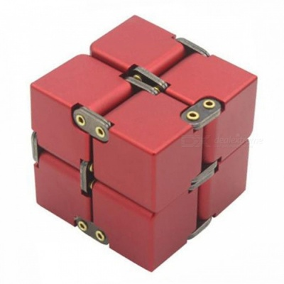 P-TOP Aluminum Alloy Metal Infinity Magic Fidget Cube, Office Flip Cubic Puzzle Anti-Stress Toy - Red