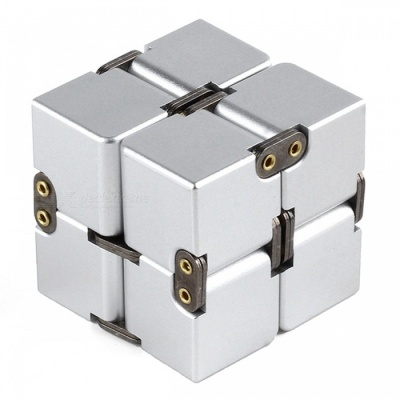P-TOP Aluminum Alloy Metal Infinity Magic Fidget Cube, Office Flip Cubic Puzzle Anti-Stress Toy - Silver