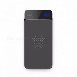 ROCK QI Wireless Charger 8000mAh Power Bank with Digital Display 5V 2A 5W External Battery Powerbank for IPHONE X Samsung Xiaomi Grey