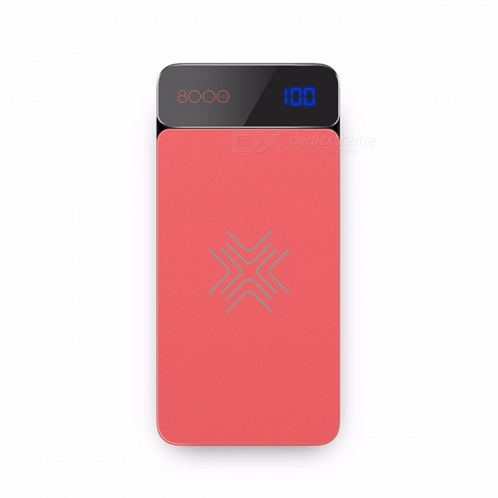 ROCK QI Wireless Charger 8000mAh Power Bank with Digital Display 5V 2A 5W External Battery Powerbank for IPHONE X Samsung Xiaomi Red