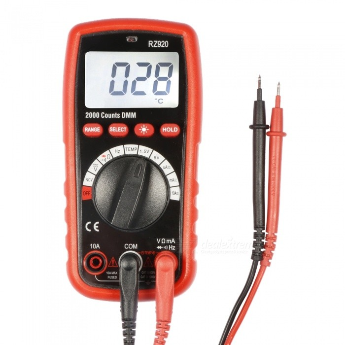 RZ920 Portable Digital Multimeter with LCD Backlight - OrangeMultimeters<br>ColorOrangeModelRZ920Quantity1 DX.PCM.Model.AttributeModel.UnitMaterialABSScreen Size5.5*3.5 DX.PCM.Model.AttributeModel.UnitMax. Display1000VDC Voltage200mV to 1000V<br> +/-(0.5% rdg +3)AC Voltage750V,  +/-(0.8% rdg + 5)DC Current200µA to 10A,  +/-(1.2% rdg+3)AC Current20µA to 10A,  +/-(1.2%+3)Resistance200to 20M, Accuracy up to +/-(1.0% rdg + 3)Frequency Accuracy200kHz, Accuracy:+/-(1.5%+15)Temperature TestYesFrequency TestYesShort-Circuit ProtectionYesShort Curcuit BuzzNoAuto Power OffNoPowered ByBuilt-in BatteryBattery Number1Battery included or notYesCertificationCE  FCC  ROHSPacking List1 x Meter2 x Test leads1 x Carry bag1 x Temperature probe<br>