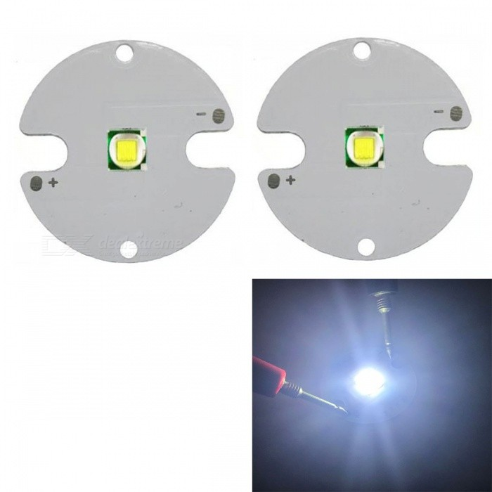JRLED Super Bright 32mm PCB 10W Cold White Light 5050 SMD LED Bead, DC3-3.5V (2 PCS)Leds<br>Emitting ColorCold WhiteSize32mmModelJR-5050-10WMaterialAluminium alloy+LEDQuantity2 DX.PCM.Model.AttributeModel.UnitPower10 DX.PCM.Model.AttributeModel.UnitRate VoltageDC3-3.5VWorking Current0-2500 DX.PCM.Model.AttributeModel.UnitDimmableYesEmitter Type5050 SMD LEDTotal Emitters1Beam Angle120 DX.PCM.Model.AttributeModel.UnitColor Temperature6500KTheoretical Lumens800 DX.PCM.Model.AttributeModel.UnitActual Lumens700 DX.PCM.Model.AttributeModel.UnitWavelengthN/AConnector TypeOthers,Solder jointCertificationCE ROHSOther FeaturesThis product adopts Taiwan large single crystal chip, packaged into 5050 types of beads, beads size and XML size.It is a good light source for reloading a flashlight and refitting a lamp.Packing List2 x 10W LED Beads<br>