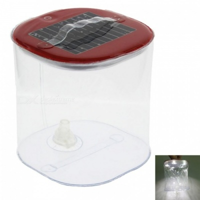 Ismartdigi 2W 5V 1000mAh 5-LED Infatable Solar Lamp for Camping Sporting Fishing Working Outdoor Using - Red