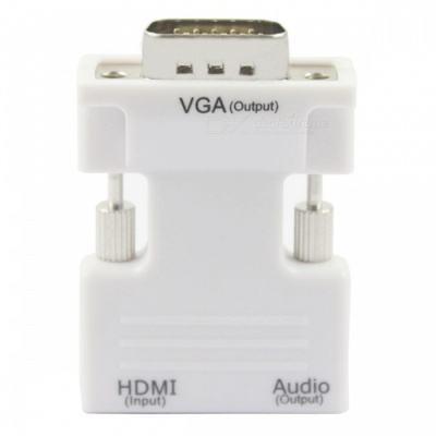 HDMI Female to VGA Male Converter with Audio Adapter - White