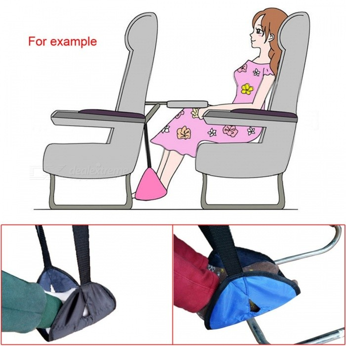 Portable Footrest Adjustable Stand Foot Rest Feet Hammock Travel Footrest for Airplane Flight Train Home or Office Black