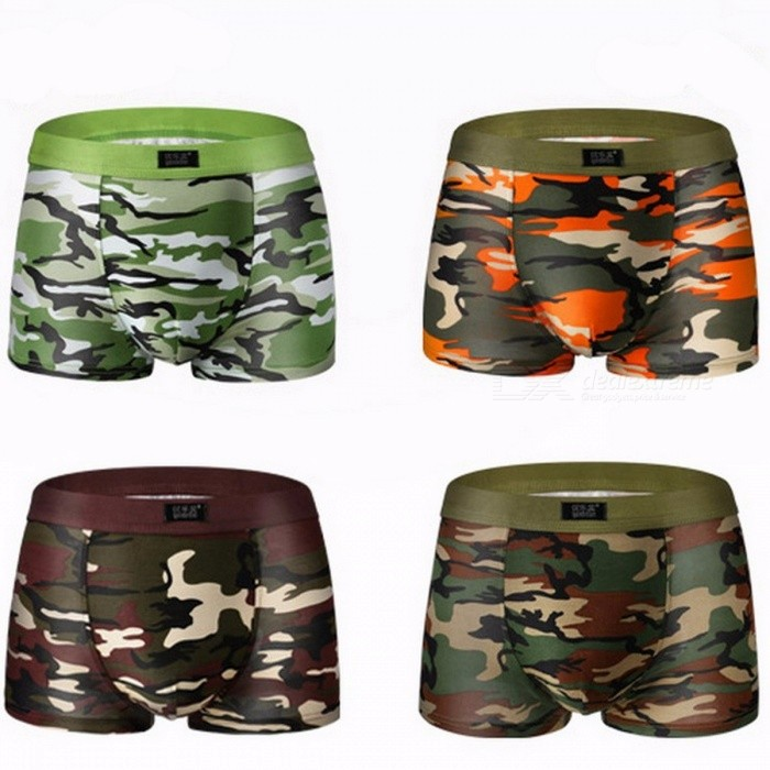 Buy 4Pcs/ Lot Camouflage Printed Male Boxer Shorts Panties, Breathable Comfortable Letter Underwear for Men  XXXL/Multicolored with Litecoins with Free Shipping on Gipsybee.com