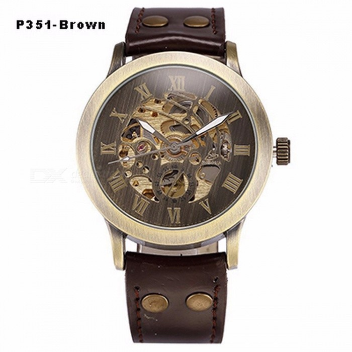 Steampunk-Skeleton-Automatic-Mechanical-Watch-Retro-Bronze-Antique-Leather-Self-Widing-Wrist-Watch-Clock-for-Men-P351-Brown